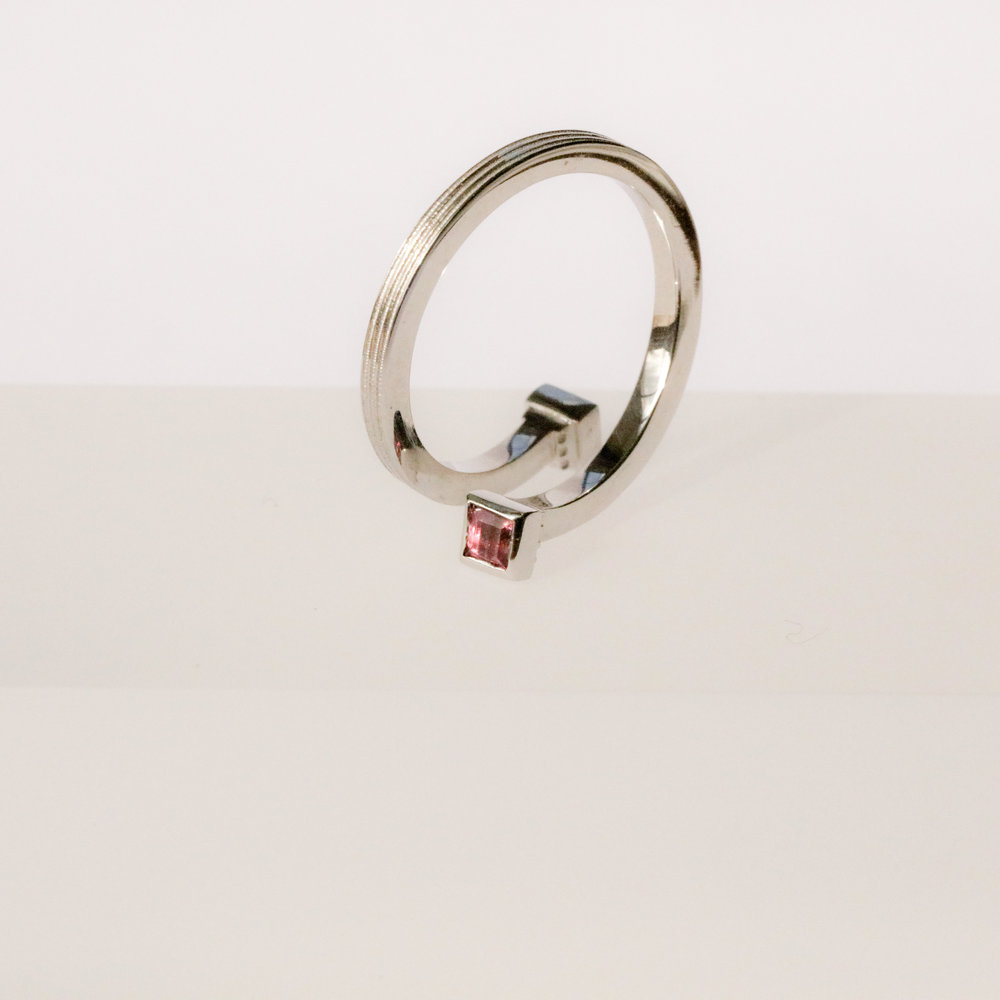 Helical Ring in 18ct white gold, set with pink tourmaline