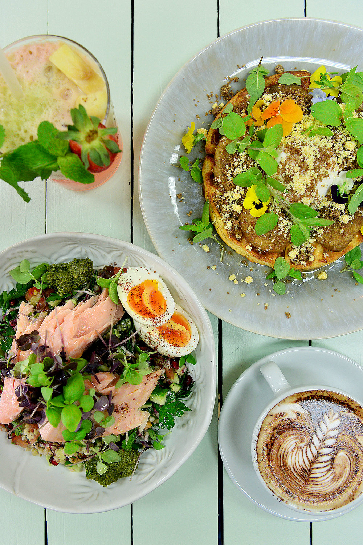 CHP_Export_154678196_Salom bittersweet tabouleh steamed egg %26 kale pesto bowl -- Tai Chi Lychee juic.jpg