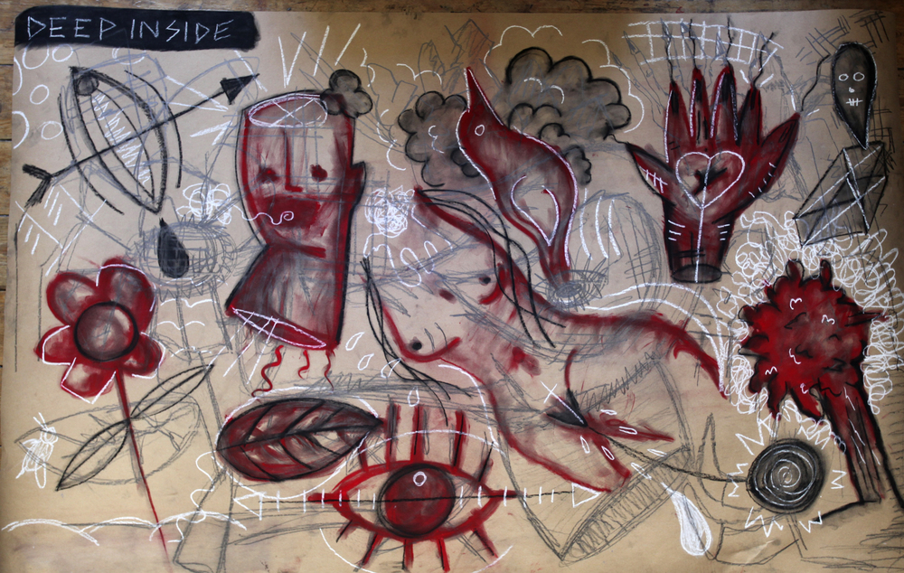 Deep Inside, 2013 Graphite, crayon, pastel and oil paint on paper mounted on wood. 100 x 170 cm