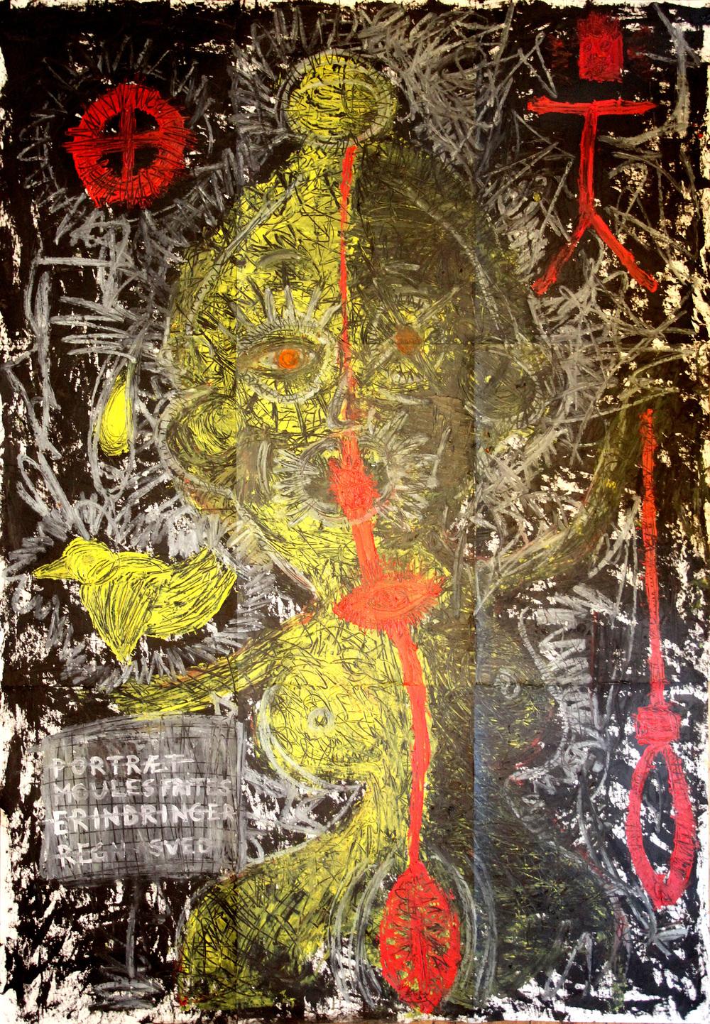 Portræt af O (Portrait of O)  200 x 130 cm   Oil on canvas   2013