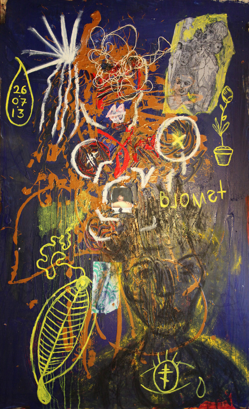 Shut Down  Mixed media on wood 160 x 100 cm 2013