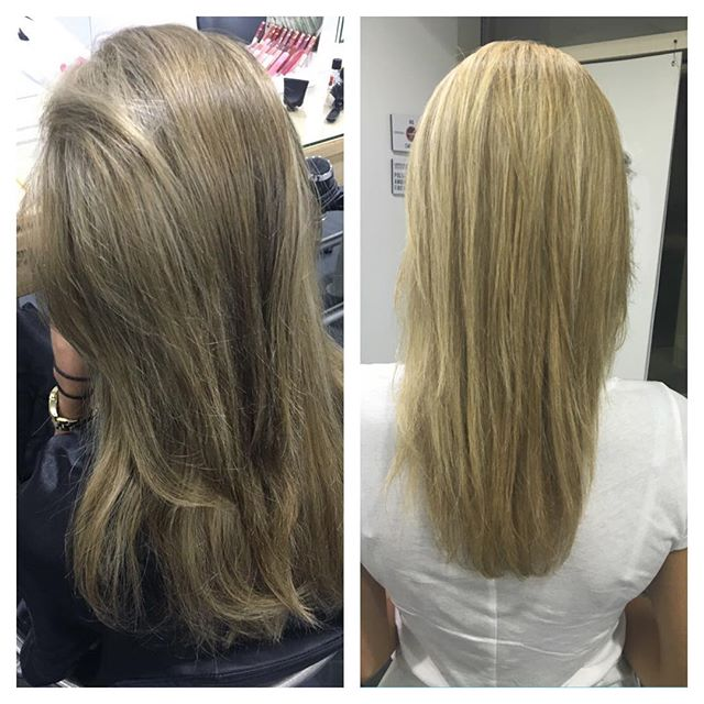 This client came in with a color that she was not happy about (she was very blond before and went to a hairstylist in Dubai that made her the brassy dark color) we did highlights and a toner and took her back to being blonde 🙅🏼