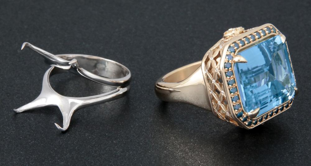 Monique's original ring mounting and hew new Dianna Rae Jewelry custom design.