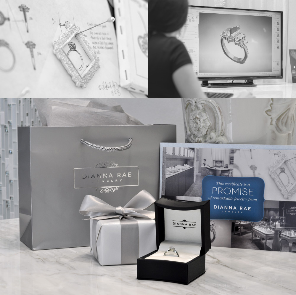 """You will receive a perfectly gift wrapped box and gift bag that she get's to open on the special day. Inside is a gift card, ring box, and """"placeholder"""" ring announcing your remarkable promise to her."""