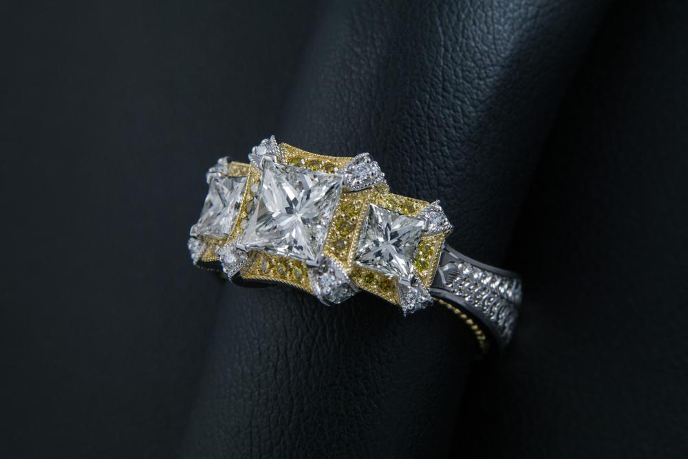 DRJ3001 - Princess 3 Stone Yellow and White Diamond Ring.jpg