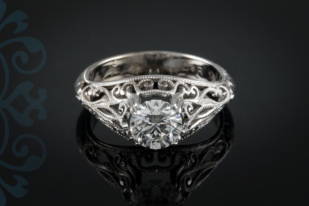 001-00896-001 - Custom Vintage Engagement Ring - Down.jpg