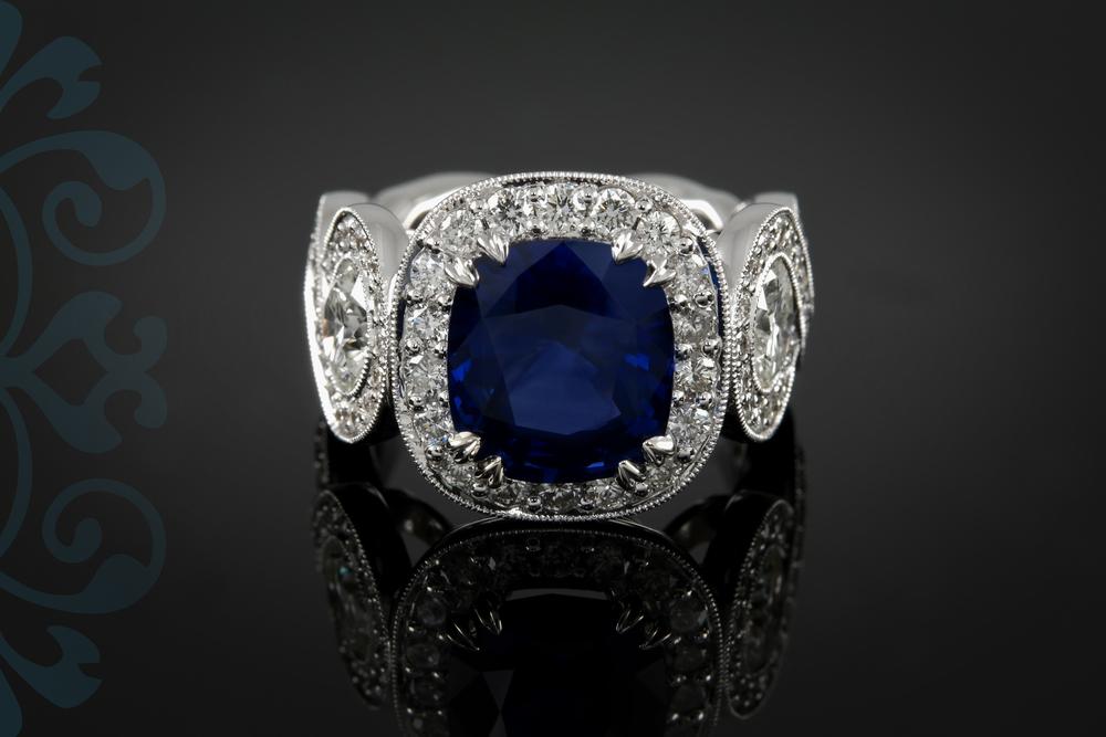 001-00913-001 - Custom Blue Sapphire and Diamond Ring - Down.jpg