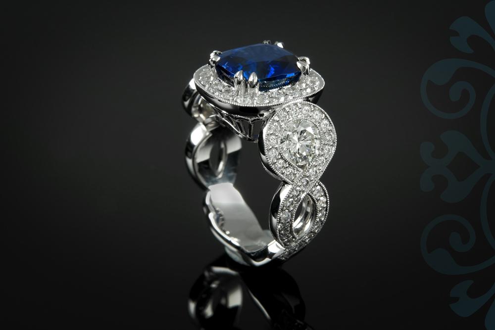 001-00913-001 - Custom Blue Sapphire and Diamond Ring - Up.jpg