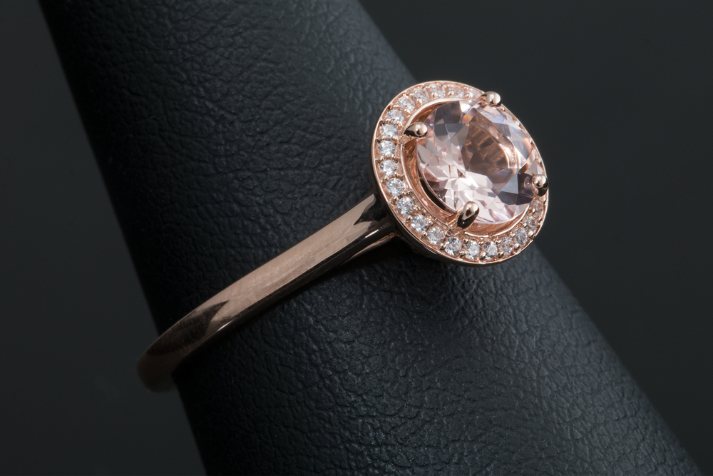 Rose Gold with a diamond halo accent.