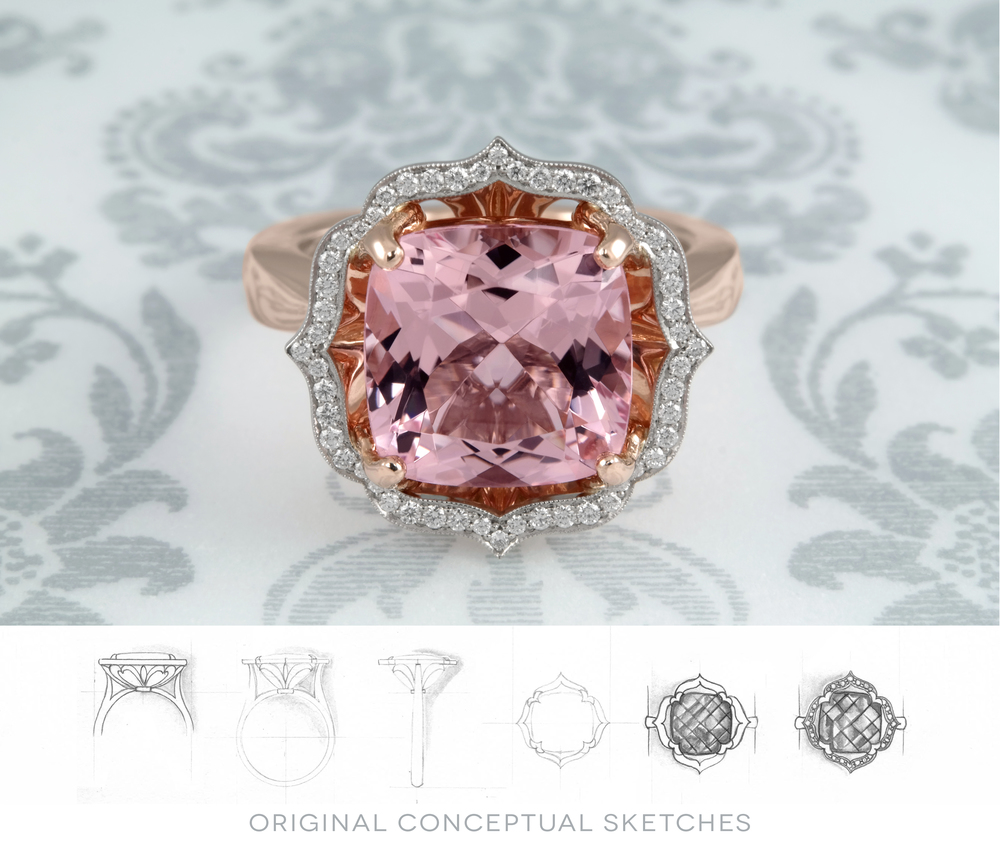 Spectacularly bright cushion cut vivid pink Morganite. This is one of a kind, hand made, Rose Gold mounting with a diamond halo accent. In Stock Now - $8350