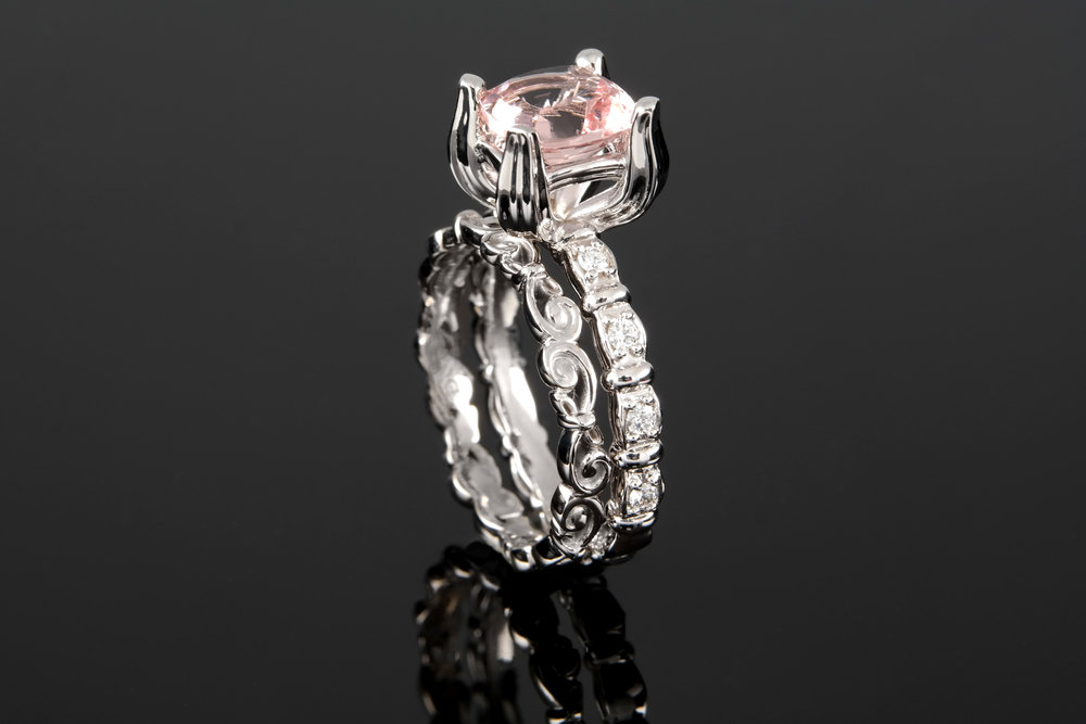 Tulip inspired white gold cushion Morganite ring with matching scroll wedding band.