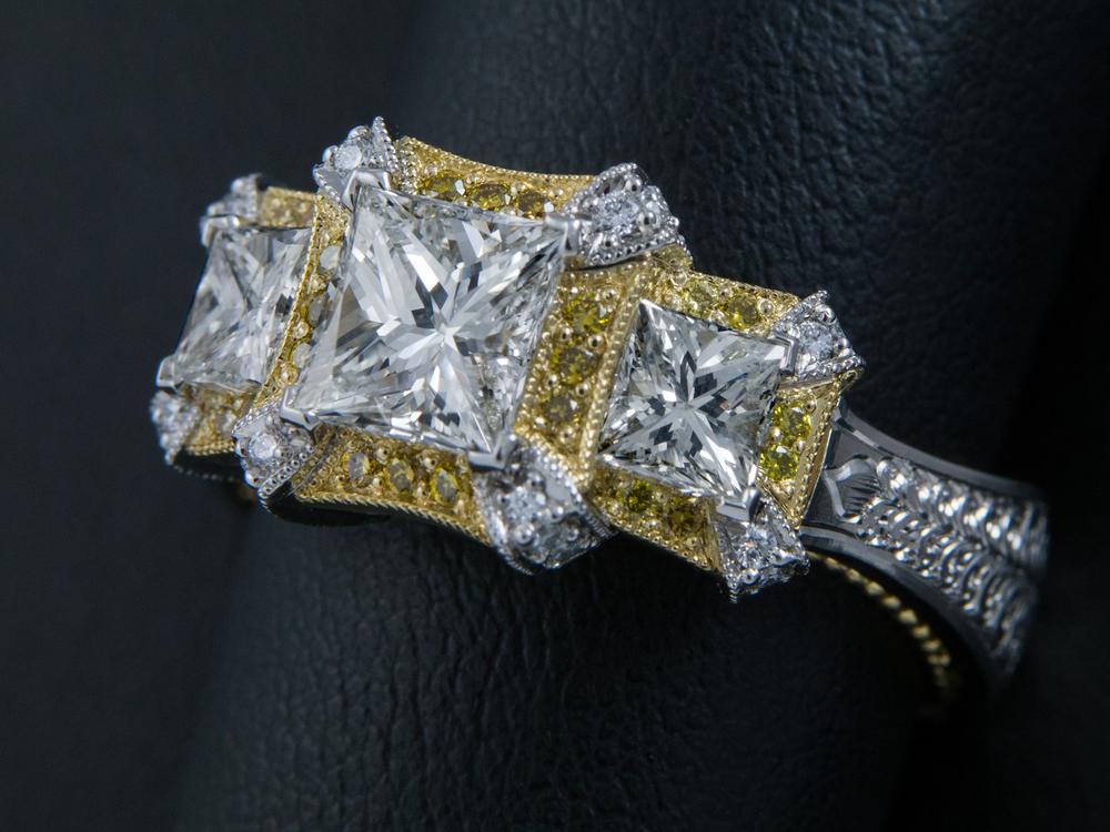 DRJ3001 - Princess 3 stone yellow diamonds - 2000x1500 Appraisal Image.jpg