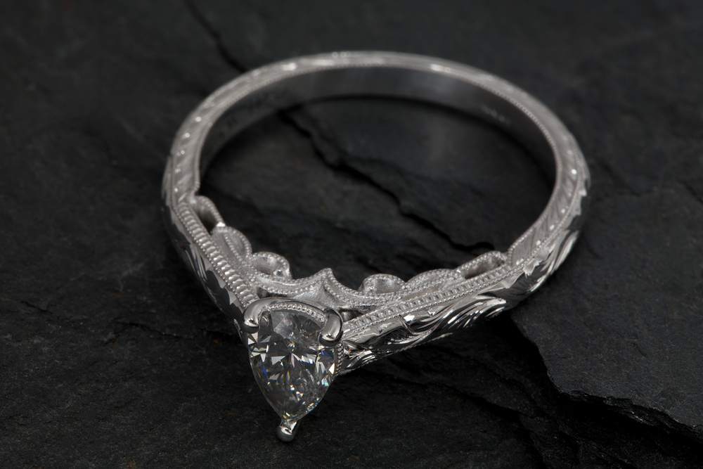 001-02292-001_Custom Engraved White Gold Diamond Engagement Ring_Down.jpg