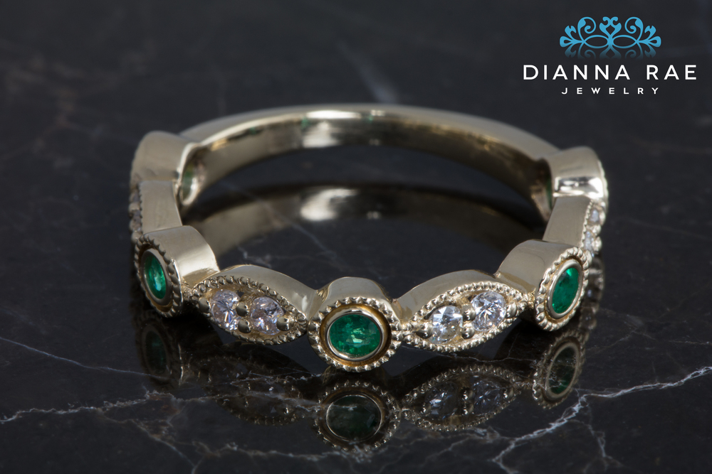 001-02680-001_Diamond and Emerald Stackable Ring_Down.jpg