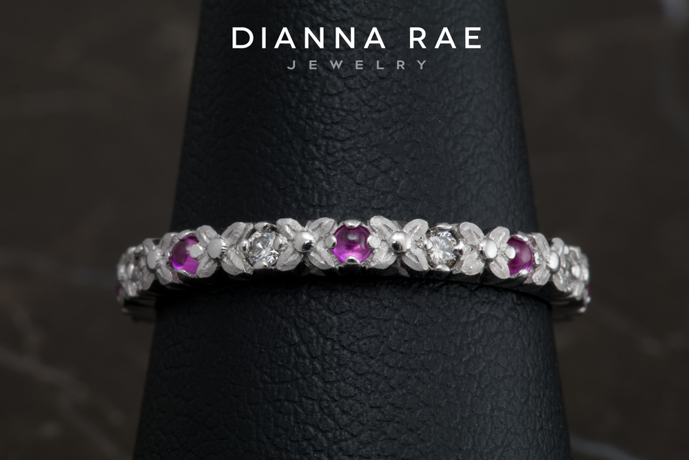ST019WG_White Gold Pink Sapphire and Diamond Stackable Ring_Finger.jpg
