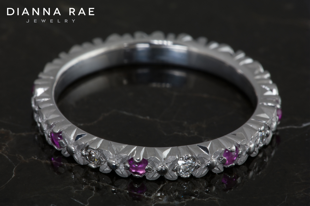 ST019WG_White Gold Pink Sapphire and Diamond Stackable Ring_Down.jpg