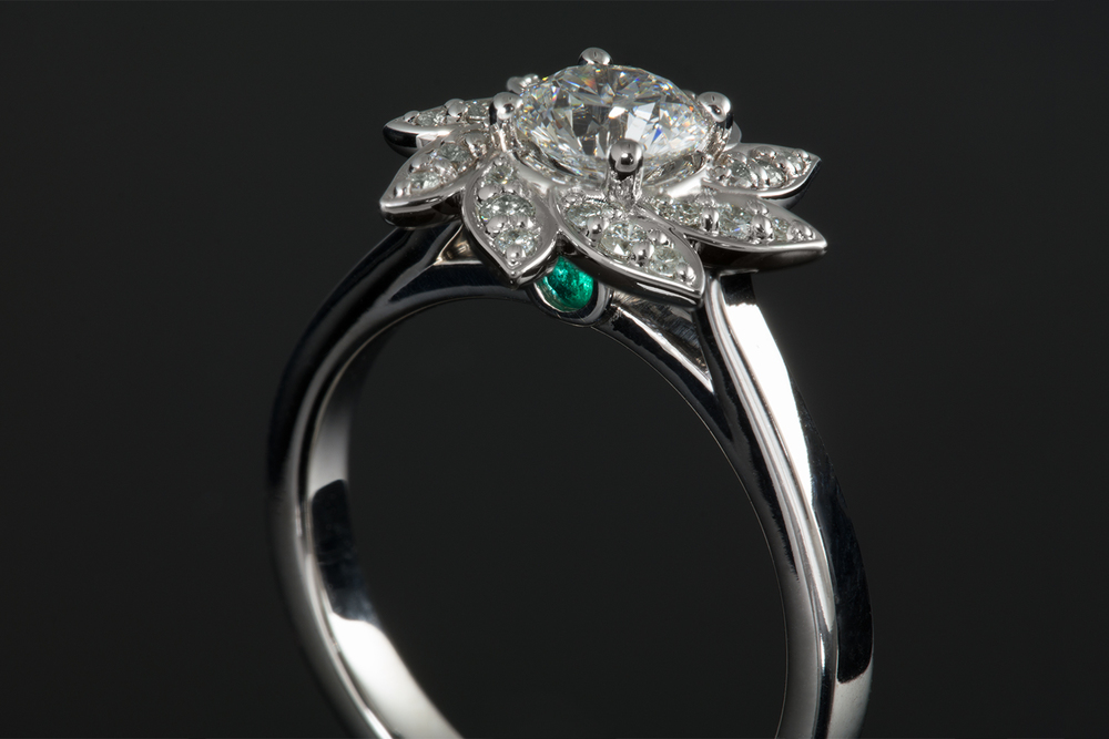 001-02411-001_Custom Flower Diamond Engagement Ring with Emerald_Up.jpg