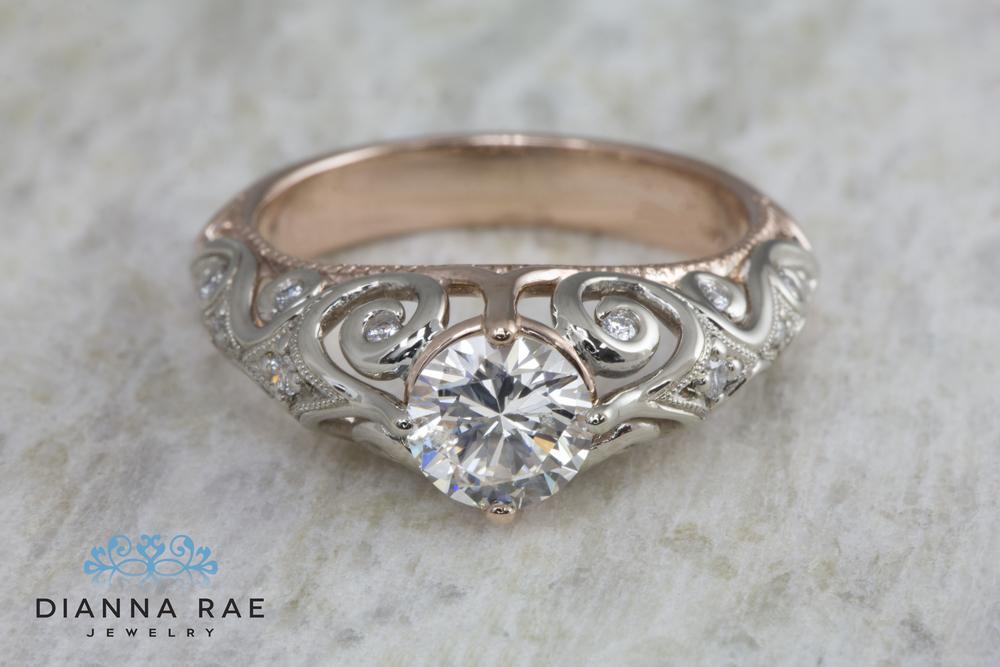 DRJ1052_Two Tone Vintage Engagement Ring_Down.jpg