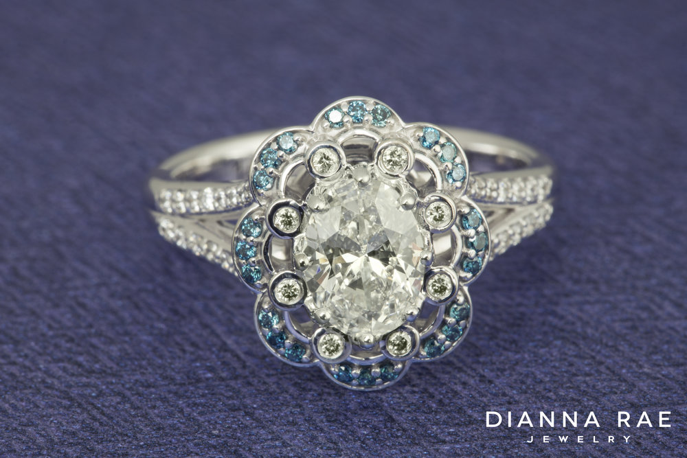DRJ3021_Oval Scalloped Engagement Ring with Blue Diamond Accents_2.jpg