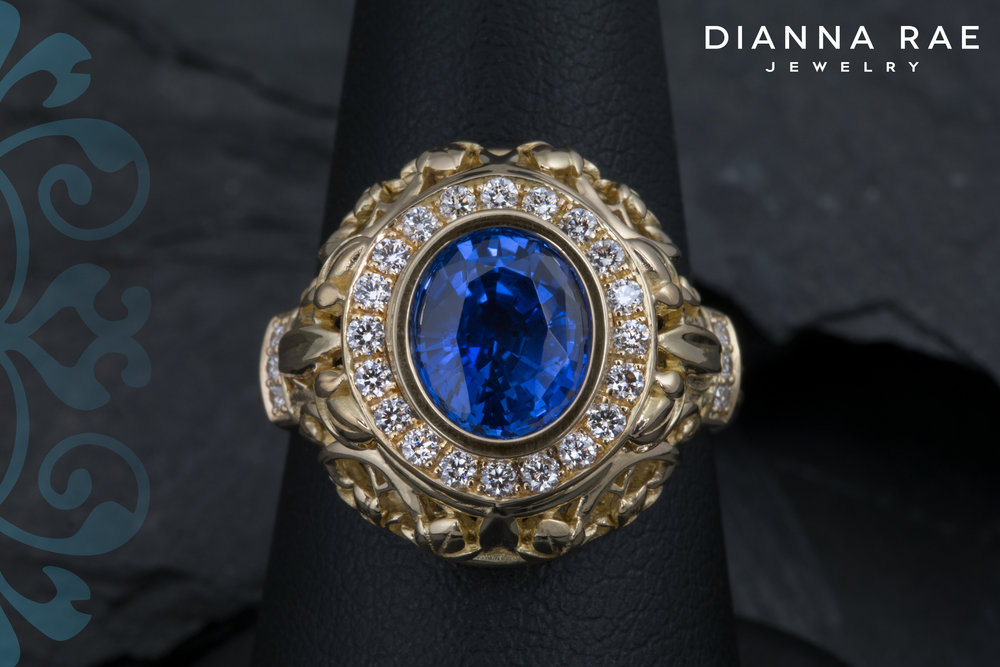 001-03177-001_Custom Yellow Gold Filigree Sapphire Ring_Top.jpg
