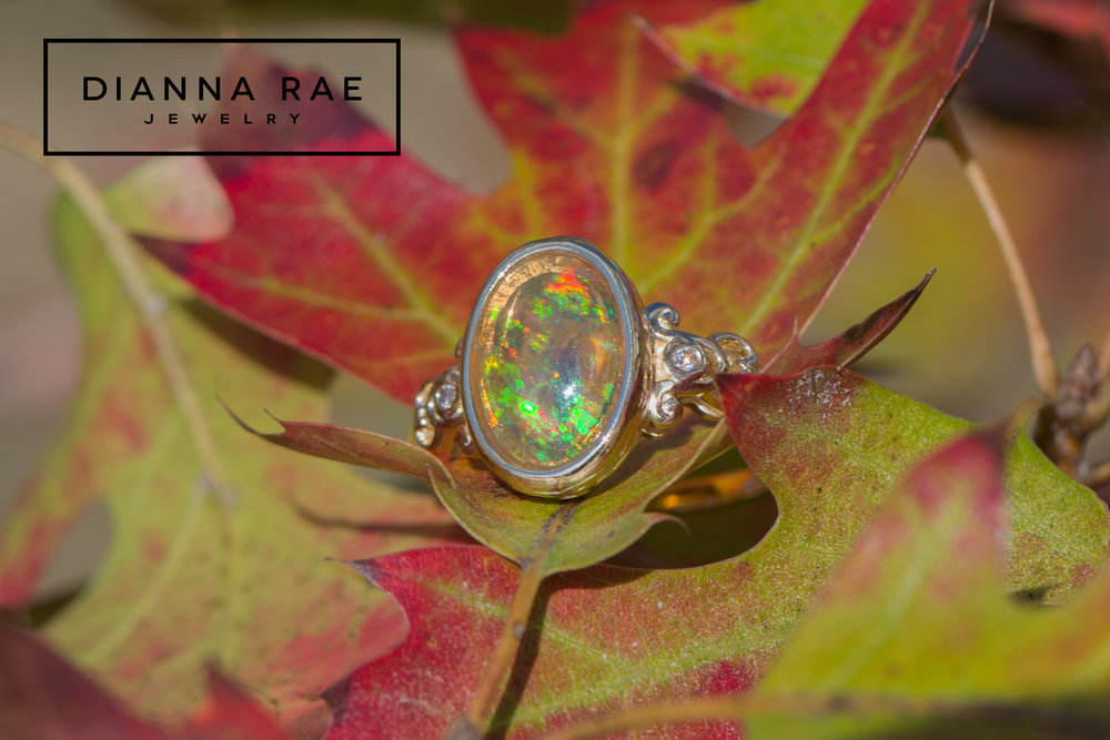 DRJ9001_Yellow Gold Filigree Ring with Mexican Fire Opal_2.jpg