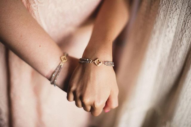 These bracelets were specially designed with double strands to symbolize two families coming together as one family of four! 💕 #sisters