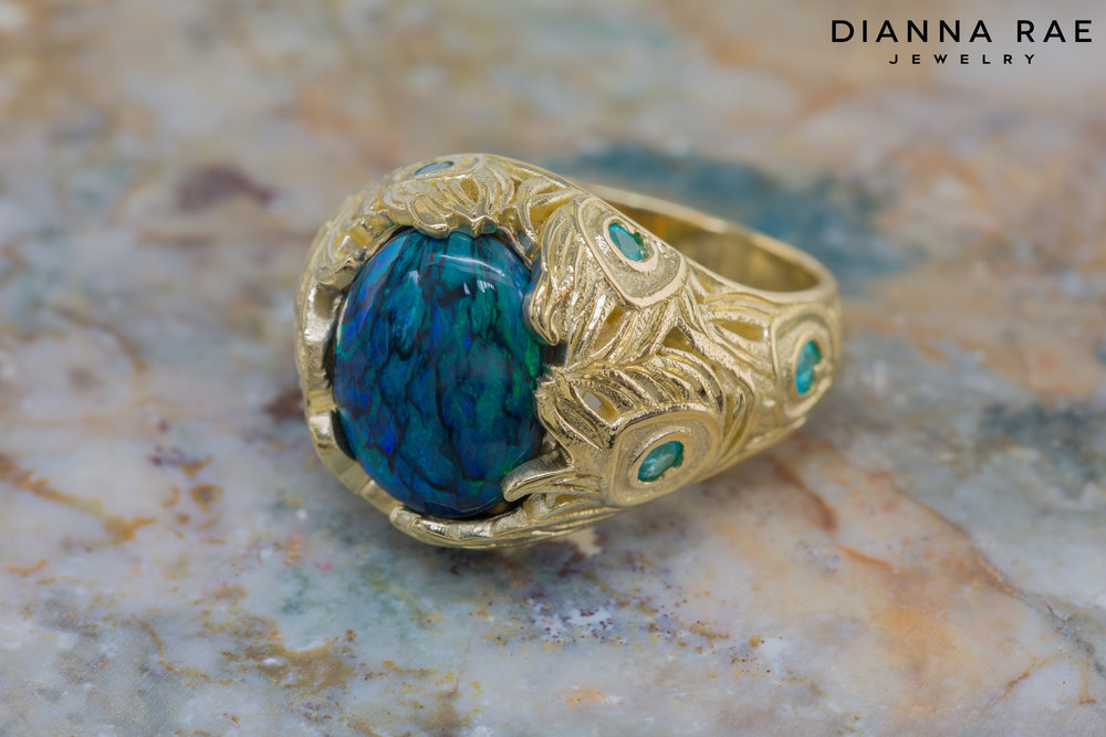 DRJ9010_Feathered Black Opal with Paraiba Tourmalines and Peacock Texture Ring_1.jpg