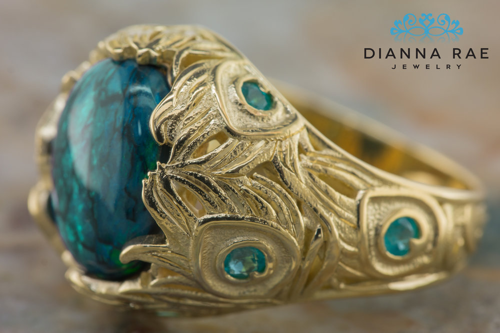 DRJ9010_Feathered Black Opal with Paraiba Tourmalines and Peacock Texture Ring_2_Detail.jpg