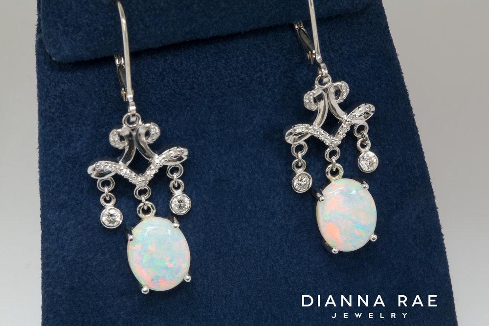 DRJ9200_Custom White Gold and Diamond Chandelier Opal Dangle Earrings.jpg