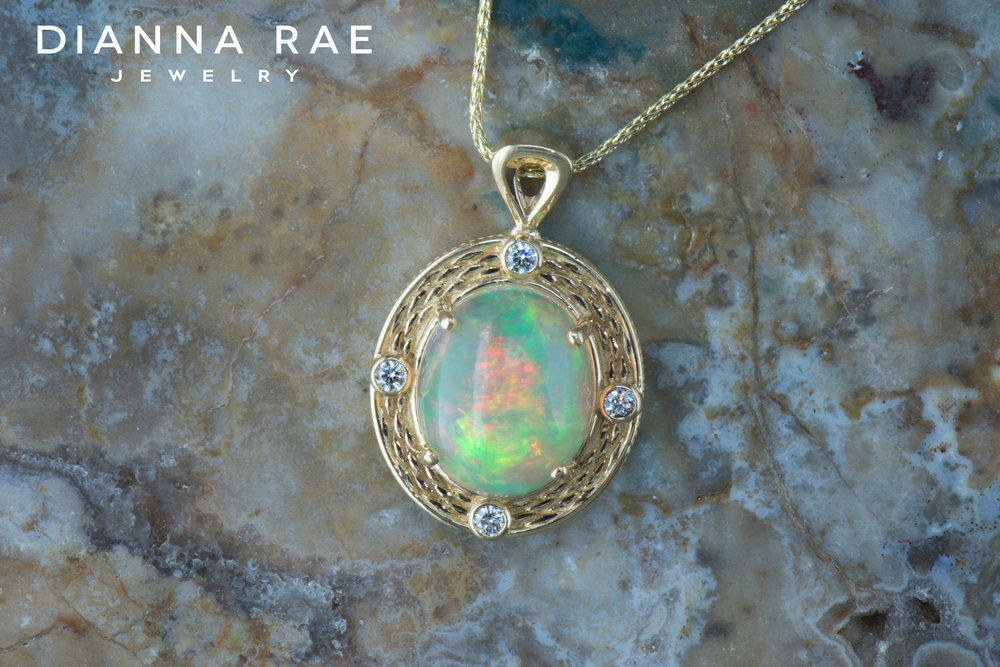 001-04356-001_Custom Yellow Gold Pendant with Ethiopian Opal and Diamond Accents.jpg
