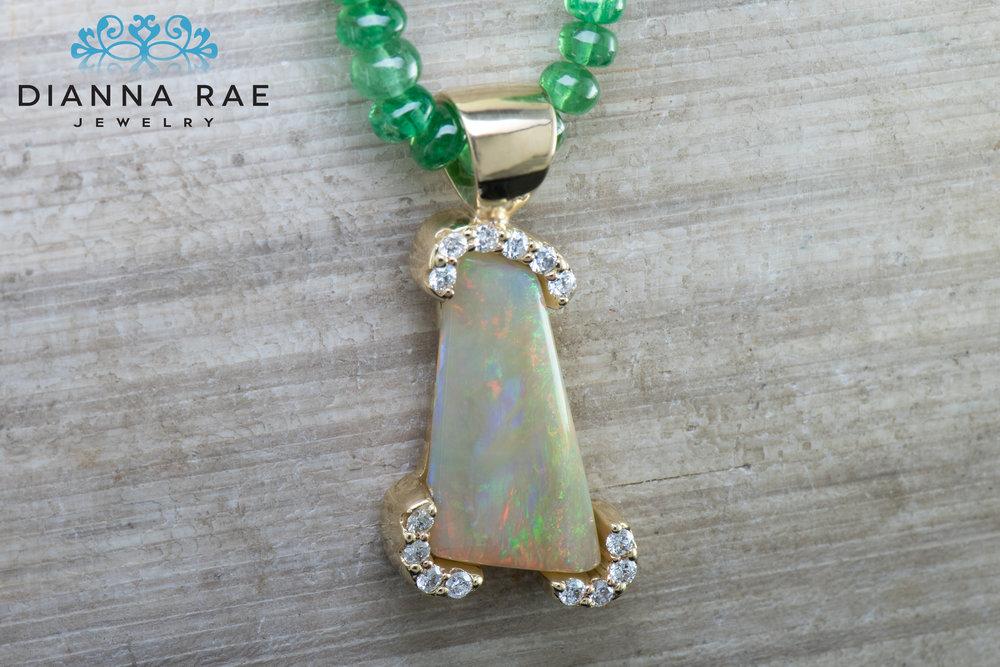 DRJ4025_Custom White Opal Pendant With Diamond Bezel Accents_On Tsavorite Beads.jpg