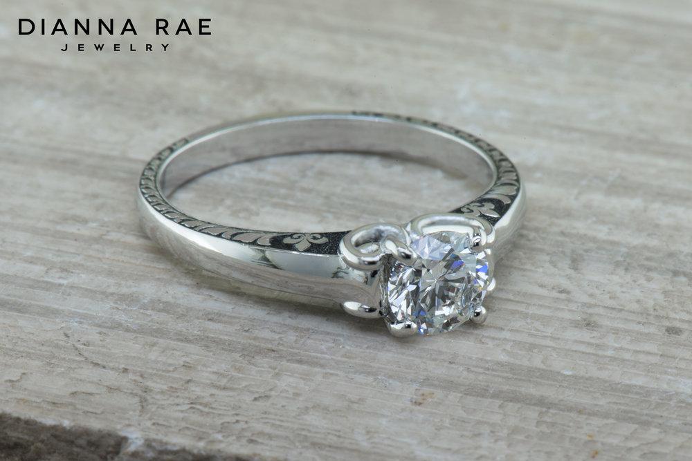 001-04117-001_Custom Platinum Engagement Ring with Fleur de lis Hand Engraving 2.jpg