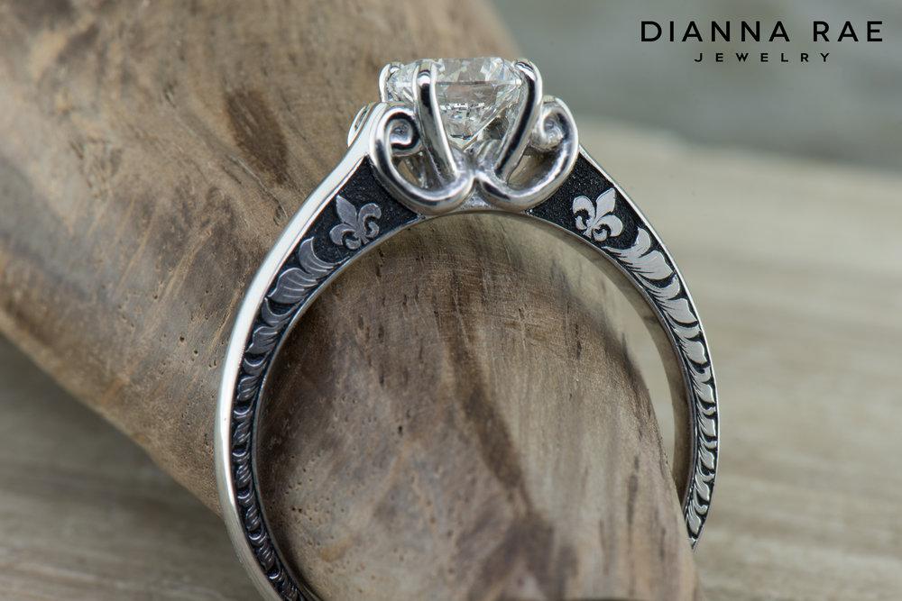 001-04117-001_Custom Platinum Engagement Ring with Fleur de lis Hand Engraving.jpg