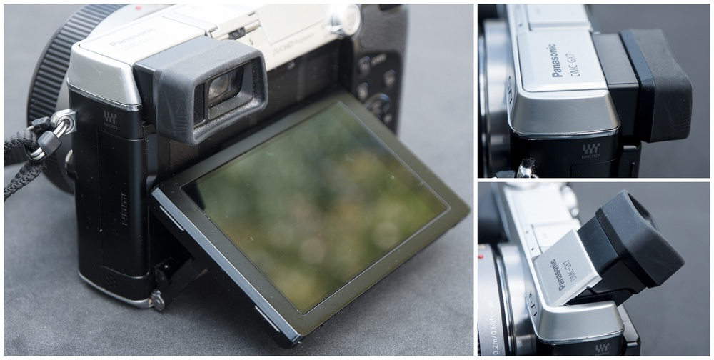 Tilting screen and viewfinder