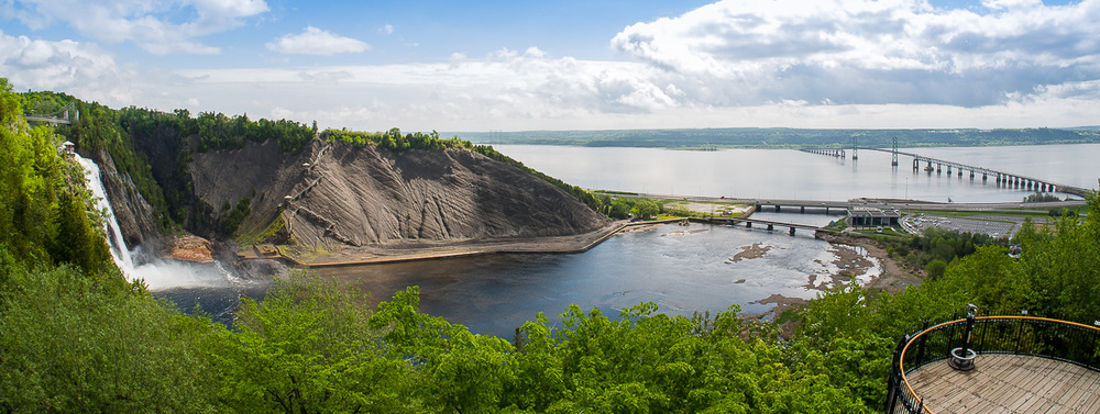 Montmorrency Falls and Ile d'Orleans Bridge near Quebec City. De-fished in Lightroom then cropped as a panoramic shot
