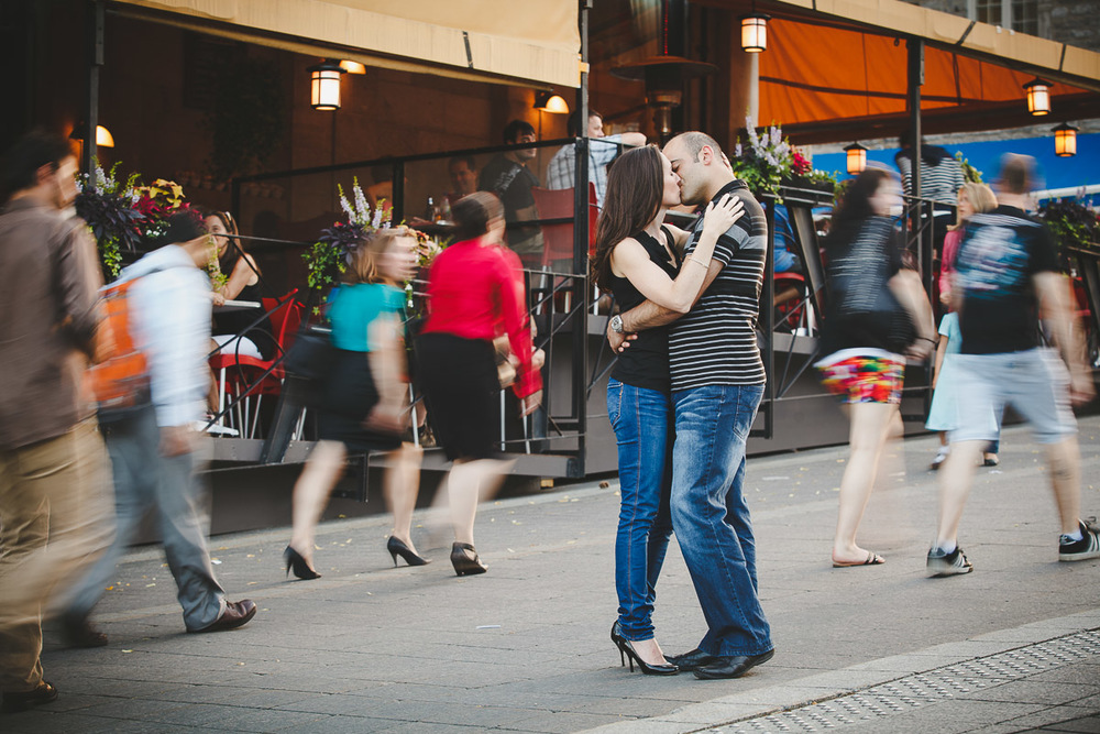 Using a slow shutter speed to show that time has stop for those two lovers