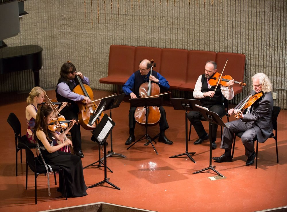 "Schoenberg's ""Transfigured Night"" with the Chameleon Arts Ensemble of Boston (Yoojin Jang and Robyn Bollinger, violins; Rafael Popper-Keizer and Joshua Gordon, cellos; Mark Holloway and Scott Woolweaver, violas) 