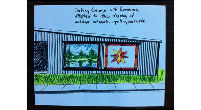 Drawing from an Artists Charrette for the RiverArts Greenway Design