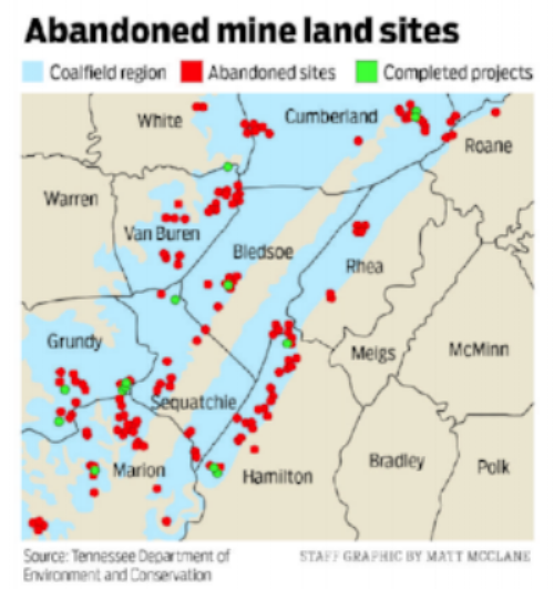 Abandoned mine land sites in Tennessee's coalfield counties. Illustration by Matt McClane