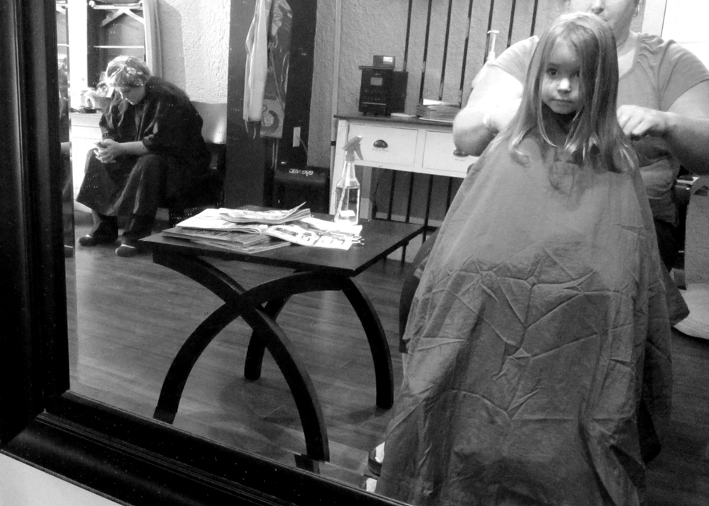 Lalo's Salon + trim + glitter spritz = a well-behaved little girl