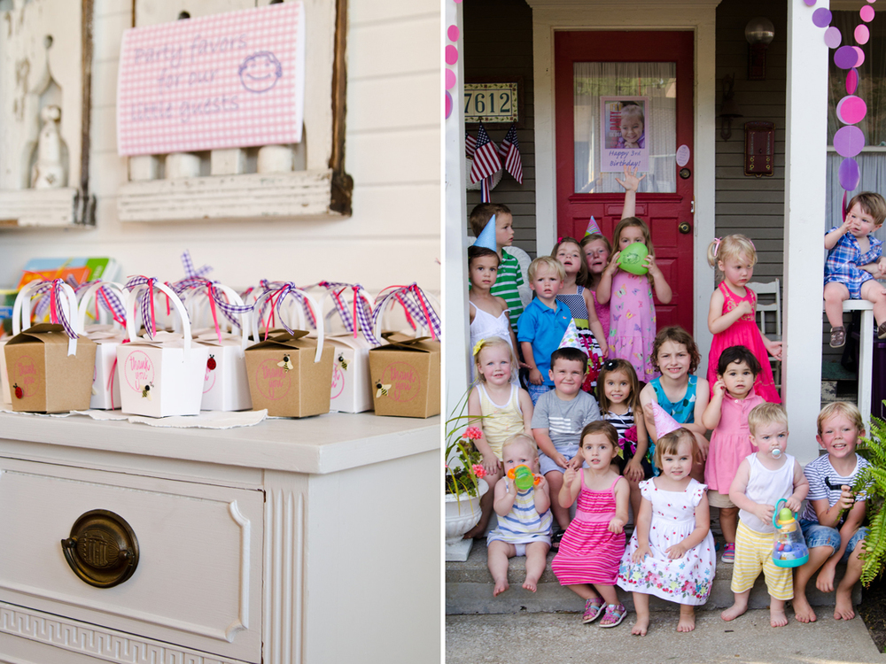 Photos by Lauren Bradshaw.  Party favor take out boxes filled with pink & purple M&Ms; All the kids, slightly confused?