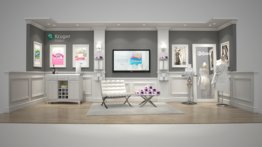 Kruger's exhibition booth design with custom millwork, cabinetry, lighting, rental furniture and inter-changeable digital graphics