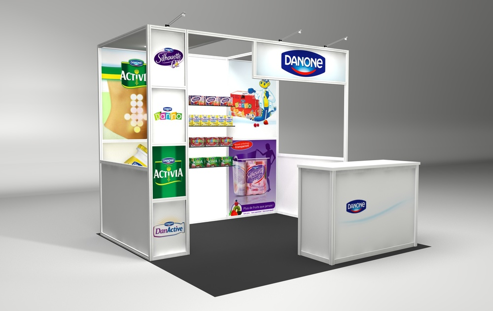 View 2 of Danone 10' x 10' trade show booth rental with printed graphics