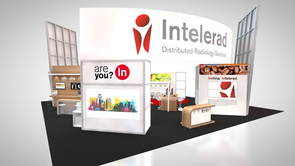 Intelerad's trade show booth rental incorporates custom workstations, fabric banners, digital graphics and interactive multimedia