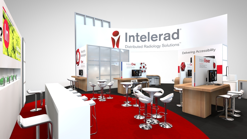 A view of Intelerad's trade show booth rental for RSNA at Chicago's McCormick place
