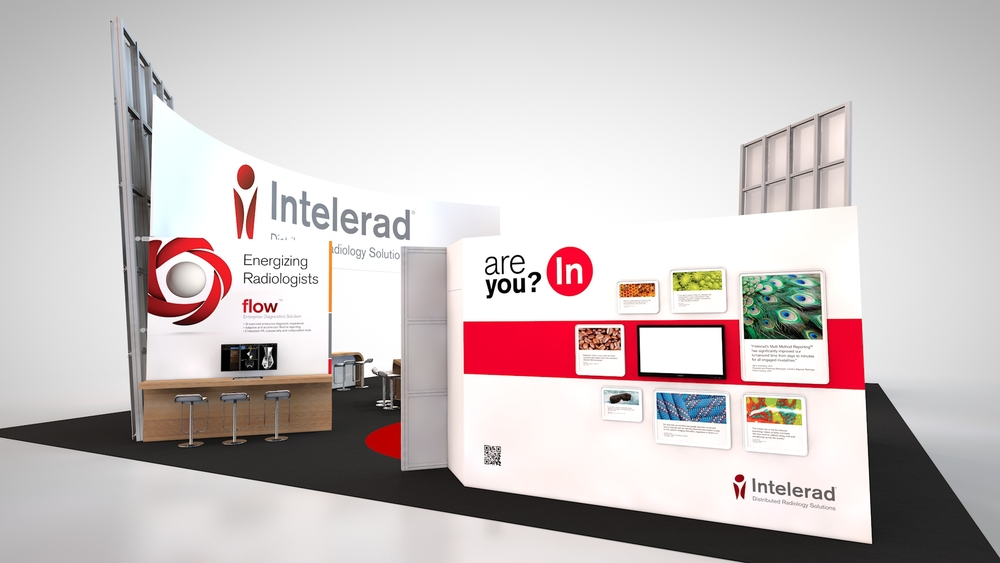 A view of Intelerad's trade show booth rental showing the outside of the storage and media room.