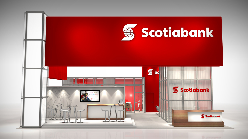 This 40' x 40' exhibit was designed to meet their three main objectives of delivering integrated communication, facilitating meetings, and creating a high impact experience. With a clean, sleek and modern booth - it showcases Scotiabank as an industry leader and innovator at the world's premier financial services event.