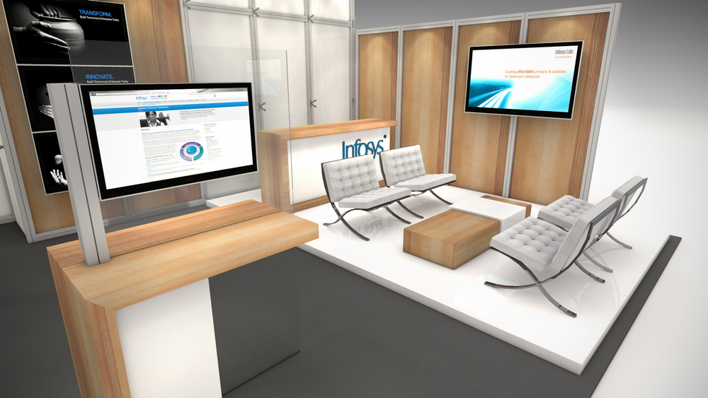 Infosys rental exhibit with a reception, meeting rooms and demo stations