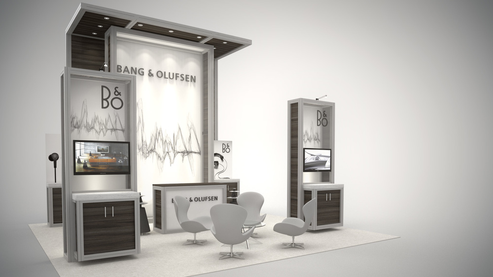 Custom designed trade show rental exhibit display with modular workstations and integrated monitors