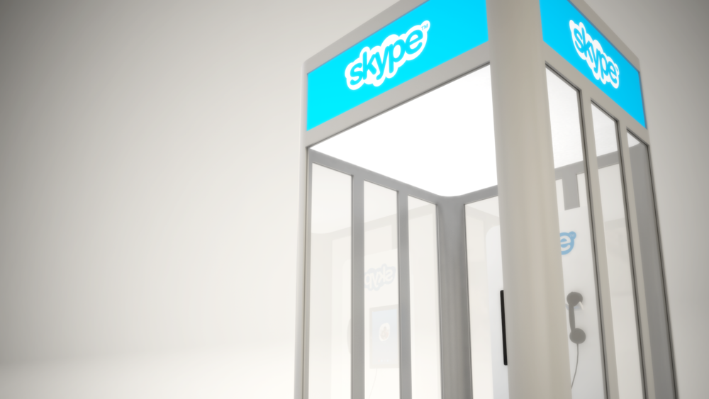 Rental kiosk built from modular Octanorm components & digital graphics